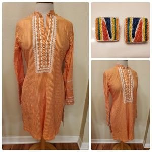 Vtg Maaic Designs by Mrs Ather Orange Tunic Dress